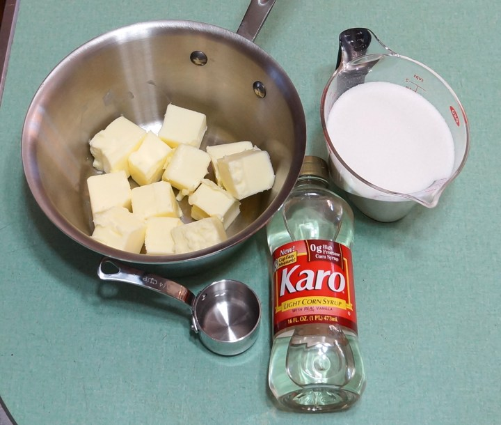 The fundamental components of my toffee - butter, sugar, a little corn syrup, a little water, and a little salt (not shown).