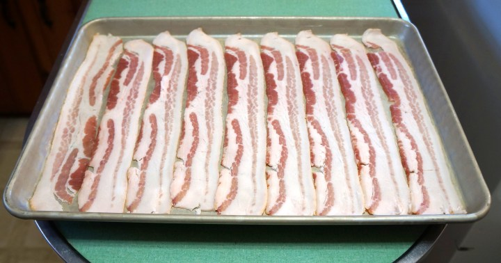 Place the bacon in a single layer on a rimmed sheet pan.