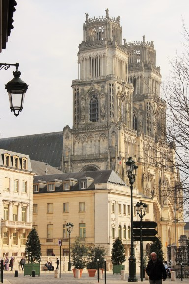 The cathedral towers over the other buildings of Orléans