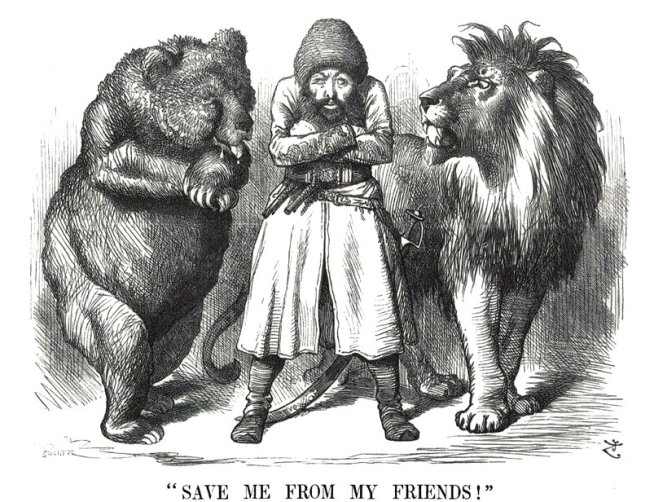 "A classic Great Game political cartoon depicting the Afghan Emir Sher Ali with his ""friends"" the Russian Bear and British Lion (1878)"