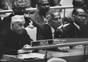 Jawaharlal Nehru (L) and V. K. Krishna Menon (R) at United Nation General Assembly. (Photo by Ralph Crane/The LIFE Picture Collection/Getty Images)