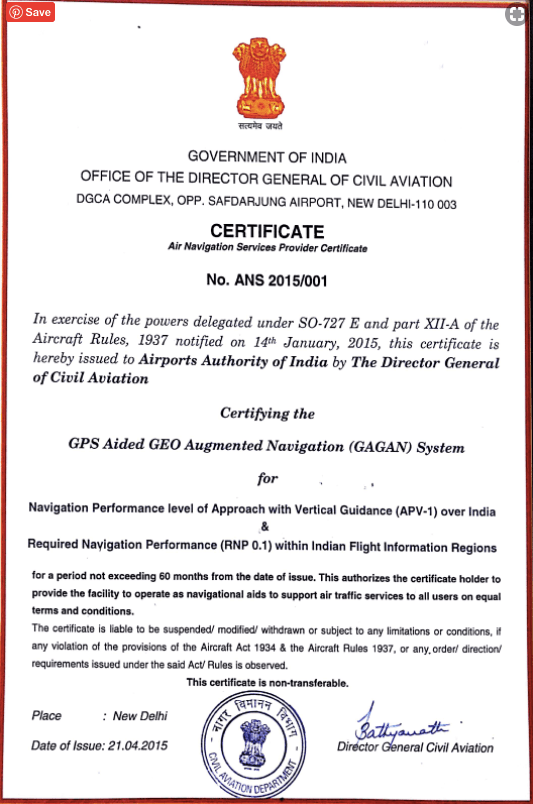 DGCA grants the GAGAN certification to the Airport Authority of India
