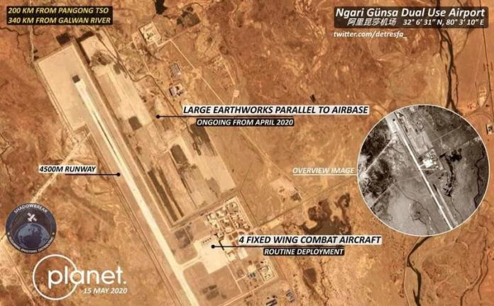 China expands airbase near Ladakh, including placing advanced fighter jets on tarmac.