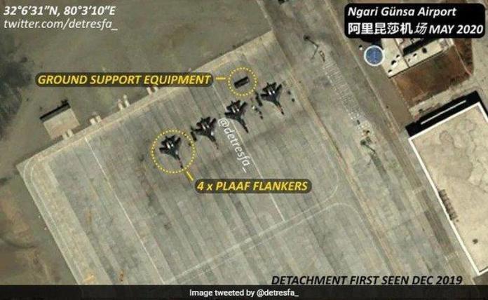 Satellite images of Ngari Gunsa Airbase near Ladakh showing Chinese Fighter jets