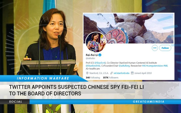 Twitter Appoints Suspected Chinese Spy Fei-Fei Li To Board Of Directors