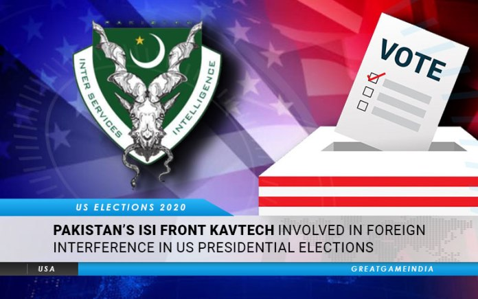 Pakistan's ISI Front Kavtech Involved In Foreign Interference In US Presidential Election 2020