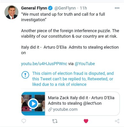 General Flynn tweet on Leonardo Security Head Arturo D'Elia in US Election hacking