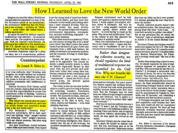How I Learned To Love The New World Order - Joe Biden, 1992