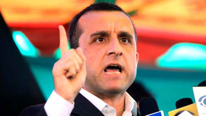 A file photo of Amrullah Saleh at a rally in Afghanistan in 2011