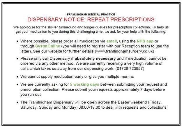 Framlingham Surgery Repeat Prescription information
