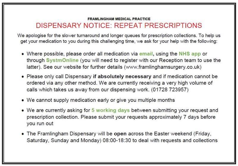 Framlingham Surgery Repeat Prescription information