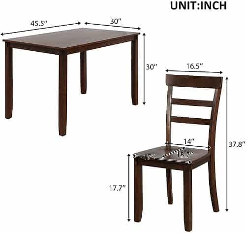 P PURLOVE 5 Piece Dining Table