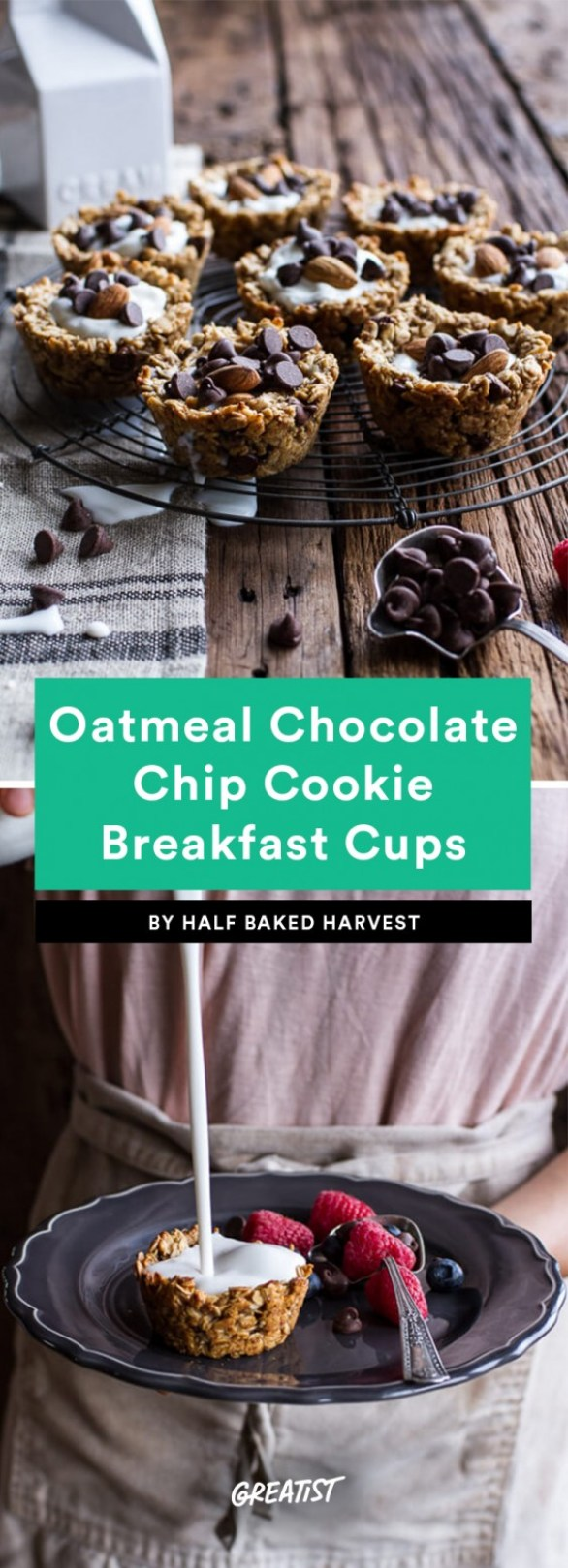 Oatmeal Chocolate Chip Cookie Breakfast Cups