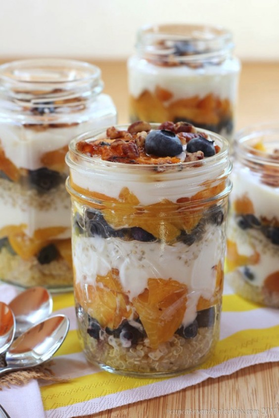 Blueberry & Grilled Peach Quinoa Parfaits