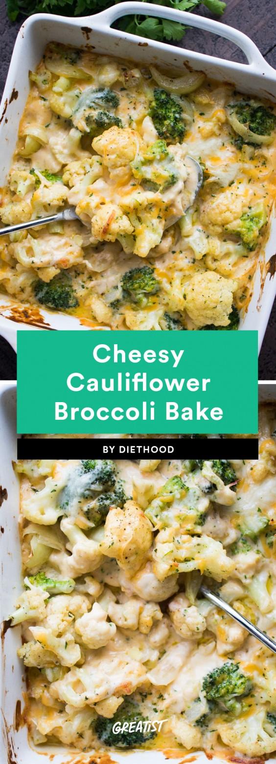 Cheesy Cauliflower Broccoli Bake Recipe