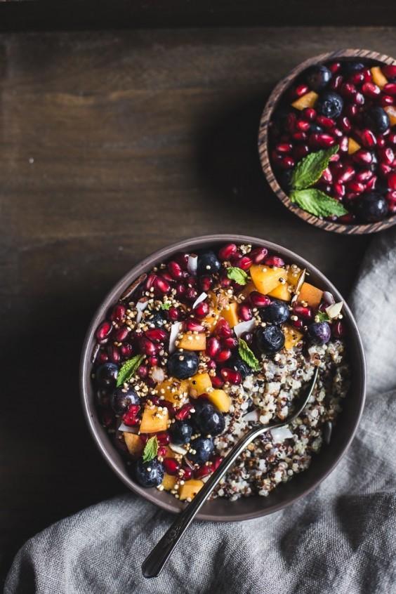 Coconut Quinoa Porridge With Berries and Quinoa Crunch Topping Recipe