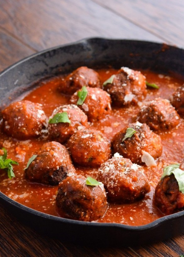 Eggplant Veggie Meatballs in Marinara Sauce
