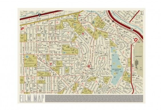 Street map with all of the streets named after films