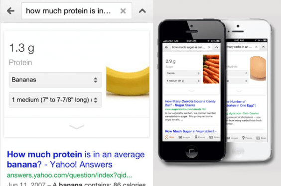 Google Nutritional Information