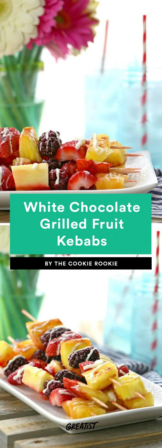White Chocolate Grilled Fruit Kebabs
