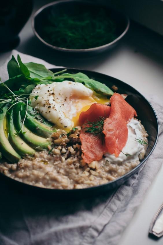 Savory Porridge With Miso, Salmon, and Avocado Recipe