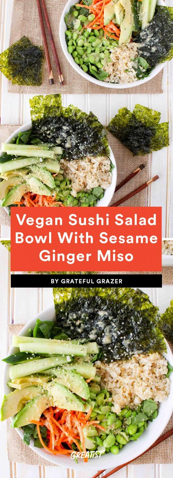 Vegan Deconstructed Sushi Salad Bowl With Sesame Ginger Miso Dressing Recipe