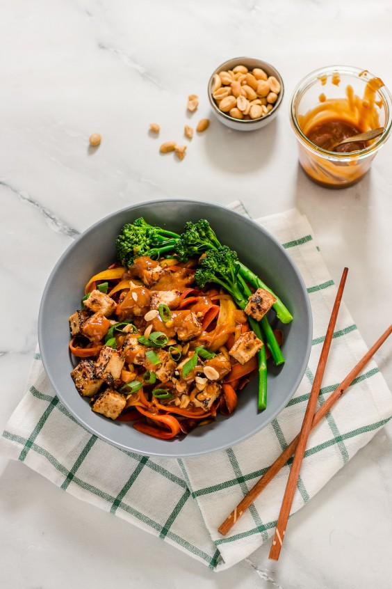 Carrot Noodle Bowl With Ginger Peanut Sauce Recipe