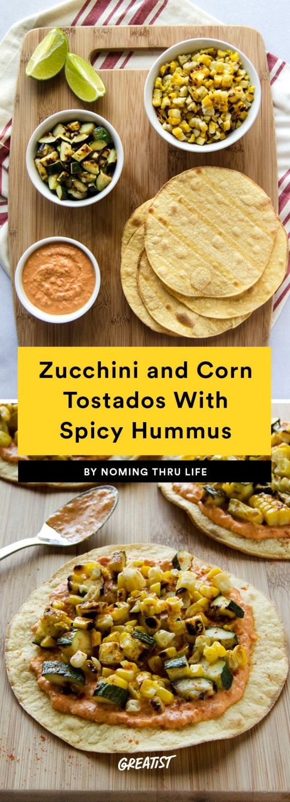 Zucchini, Corn, and Spicy Hummus Tostadas Recipe