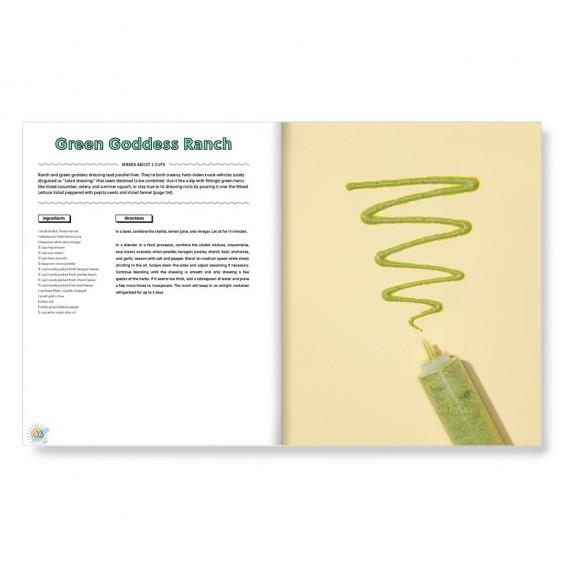 Green goddess ranch dressing recipe in a cookbook