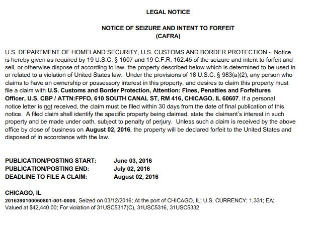 Cash Seizure at O'Hare Airport in June 3 Notice - Great Lakes ...