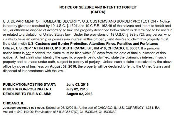A Cash Seizure at O'Hare Airport Chicago is pictured in this Notice of Seizure and Intent to Forfeit