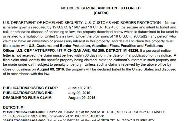 June 10th notice of seizure and intent to forfeit for a money seizure at Detroit Metro Airport