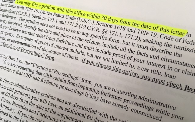 A CBP notice of seizure letter contains bad legal advice from CBP; 30 days from date of mailing, not date of the letter.