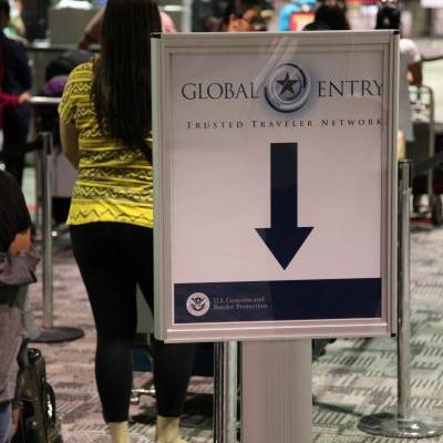 The CBP global entry line at Detroit Metropolitan Airport.