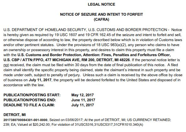 Us Customs Seizure Letter.Cafra Archives Great Lakes Customs Law