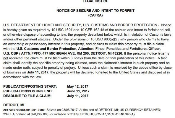 Detroit CAFRA Notice of Seizure and Intent to Forfeit