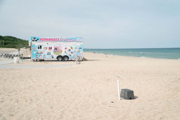 Ice-cream vendor at the beach in Warren Dunes