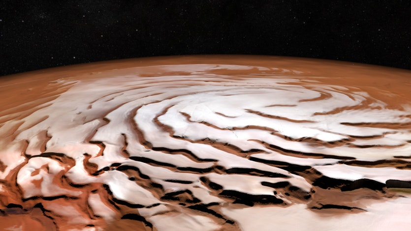 Research Reveals A New Ice Mass On Mars Beneath The Red Planet's North Pole
