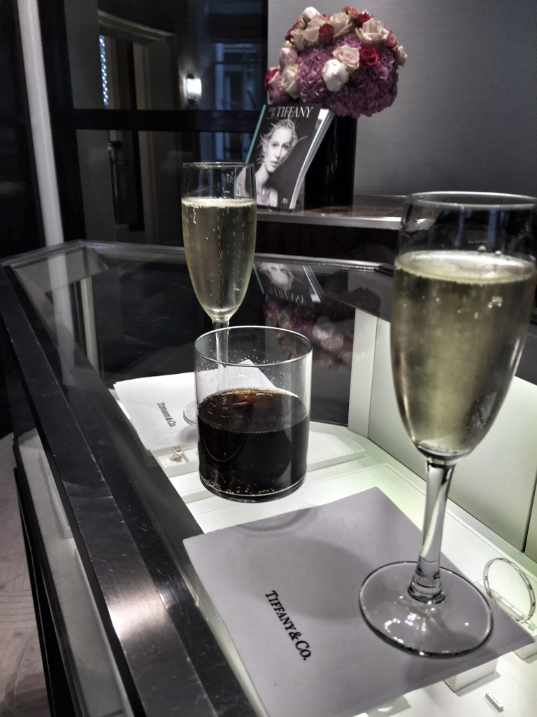 Champagne (and coke for the little one) served at Tiffany's after our purchase :)