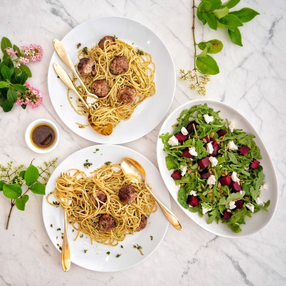 Pasta with Meatballs and Herb Sauce