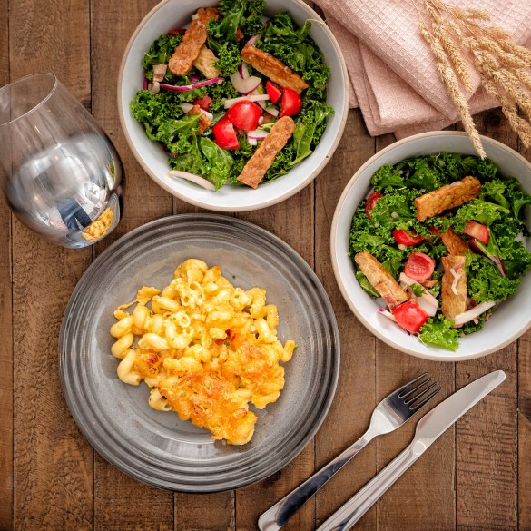 Mac and Cheese with Bacon Kale Tomato Bowl