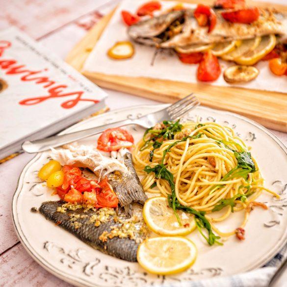 Whole Roasted Fish with Lemon and Arugula Cacio e Pepe