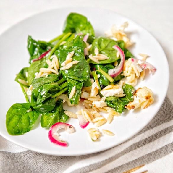 Cauliflower Feta and Orzo Salad