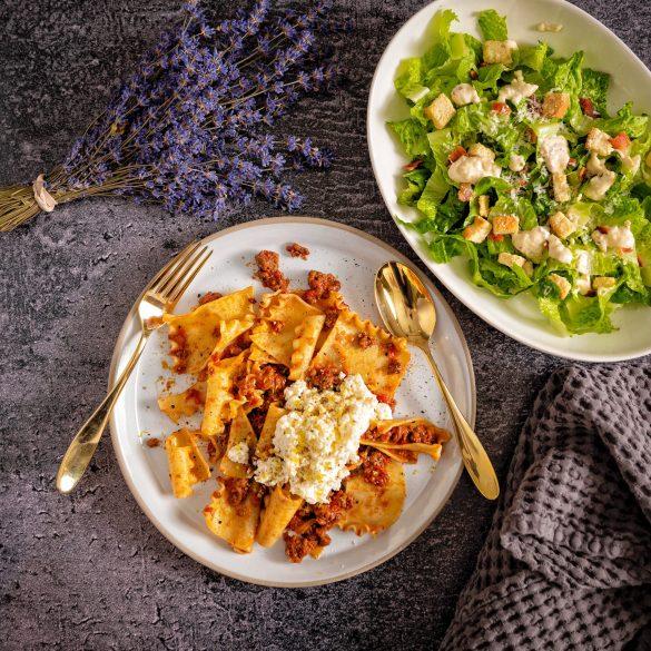 Quick Ragu with Caesar Salad