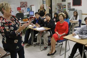 Laura Bush with Wilkinson Middle School