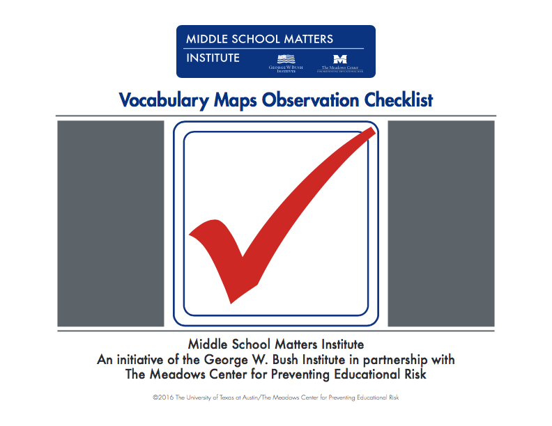 vocabulary map observation checklist
