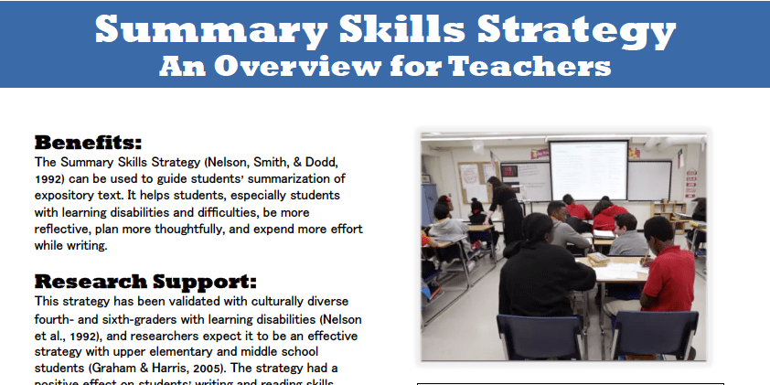 Summary Skills Strategy Summary Writing Middle School Matters