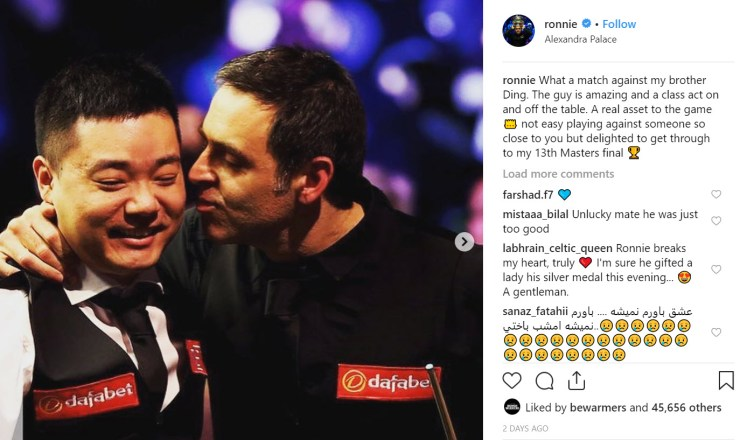 Ronnie O'Sullivan's Instagram photo (he and Ding Junhui smiling together)