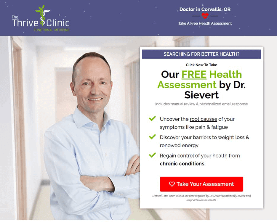 Thrive Clinic landing page with quiz for marketing funnel