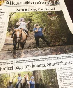 Images from Great Oak's sensory trail featured on the front page of the Aiken Standard newspaper